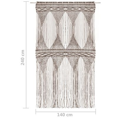 vidaXL Gardin makramé taupe 140x240 cm bomull