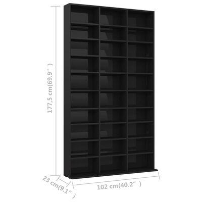 vidaXL CD-hylla svart högglans 102x23x177,5 cm spånskiva, Svart högglans