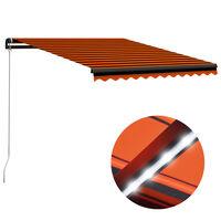 vidaXL Markis manuellt infällbar med LED 300x250 cm orange och brun, orange och brun