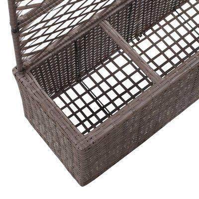 vidaXL Spaljé med 3 krukor upphöjd 83x30x130 cm konstrotting brun