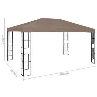vidaXL Paviljong med ljusslinga LED 4x3 m taupe