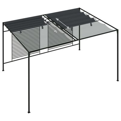 vidaXL Paviljong med infällbart tak 4x3x2,3 m gräddvit 180 g/m²