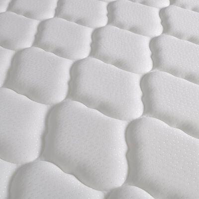 vidaXL Säng med memoryskummadrass brun tyg 140x200 cm