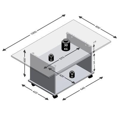 FMD Soffbord med länkhjul ekträ