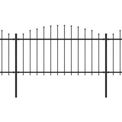 vidaXL Trädgårdsstaket med spjuttopp stål (1,25-1,5)x3,4 m svart