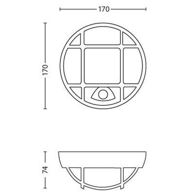 Philips Vägglampa med rörelsesensor myGarden Eagle rutnät 173193016