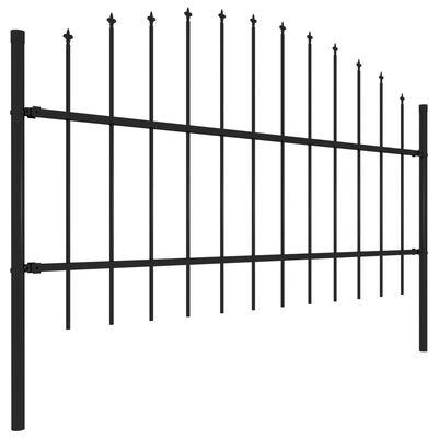 vidaXL Trädgårdsstaket med spjuttopp stål (0,75-1)x15,3 m svart