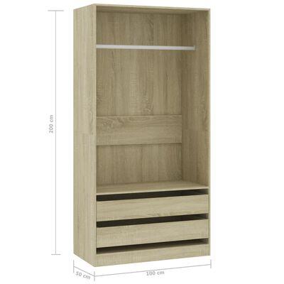 vidaXL Garderob sonoma-ek 100x50x200 cm spånskiva