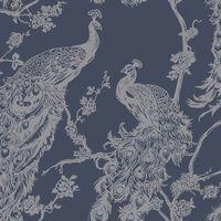 DUTCH WALLCOVERINGS Tapet påfågel marinblå och silver