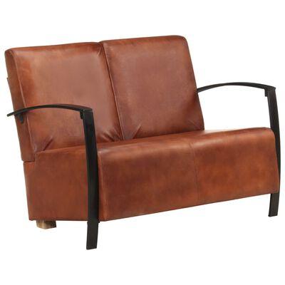 vidaXL 2-sitssoffa brun äkta skinn