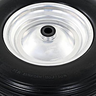 vidaXL Skottkärrehjul med axel 2 st massiv PU 4.00-8 390 mm