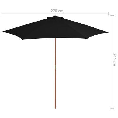 vidaXL Trädgårdsparasoll med trästång svart 270 cm