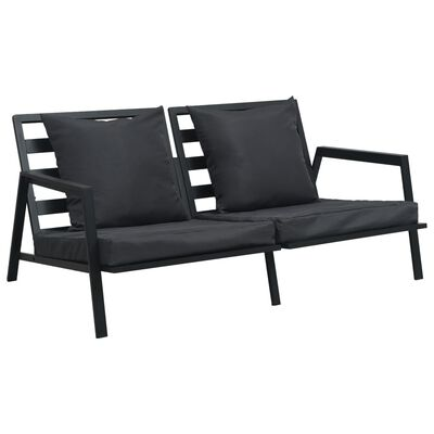 vidaXL Loungegrupp för trädgården med dynor 4 delar aluminium mörkgrå