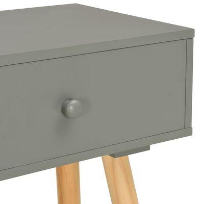 vidaXL Sängbord 2 st grå massiv furu
