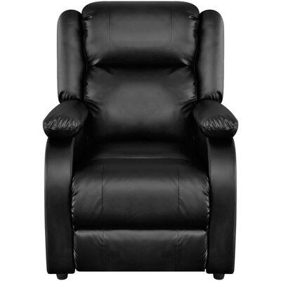 vidaXL Elektrisk massagefåtölj svart konstläder