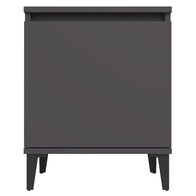 vidaXL Sängbord med metallben 2 st grå 40x30x50 cm