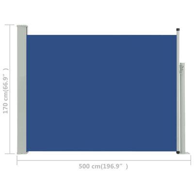 vidaXL Infällbar sidomarkis 170x500 cm blå