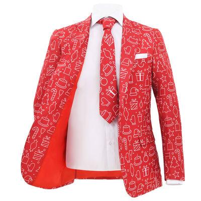 vidaXL Tvådelad julkostym med slips herr strl. 52 röd julklappar