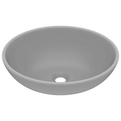 vidaXL Lyxigt ovalt handfat matt ljusgrå 40x33 cm keramik
