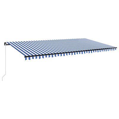 vidaXL Markis manuellt infällbar med LED 600x350 cm blå och vit