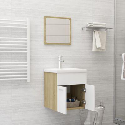 vidaXL Badrumsmöbler set 2 delar vit och sonoma-ek spånskiva,