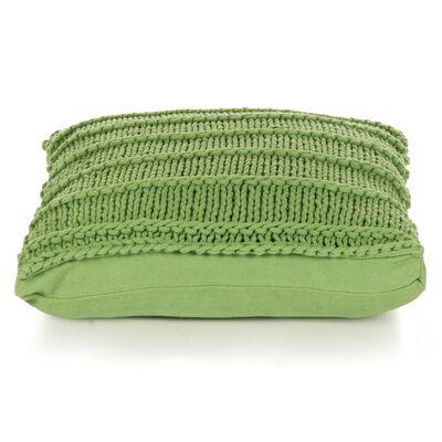 vidaXL Golvkudde fyrkantig stickad bomull 60x60 cm grön