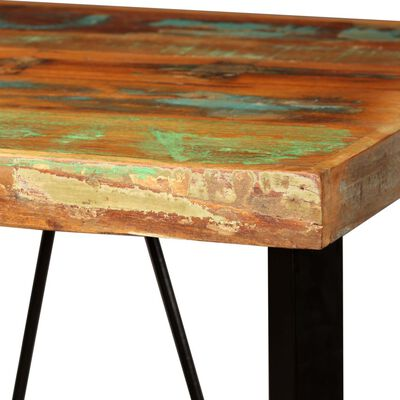 vidaXL Barmöbler 3 delar massivt återvunnet trä och äkta läder