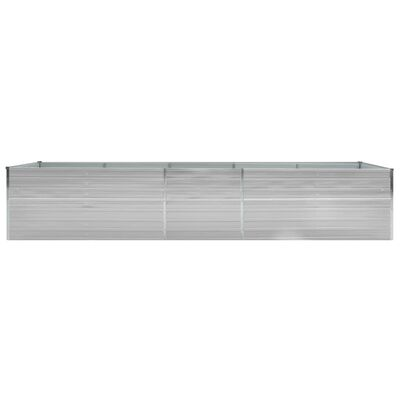 vidaXL Odlingslåda upphöjd galvaniserat stål 400x80x77 cm grå