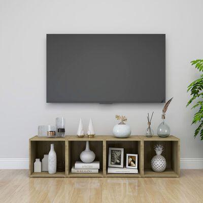 vidaXL TV-bänk 2 st sonoma-ek 37x35x37 cm spånskiva
