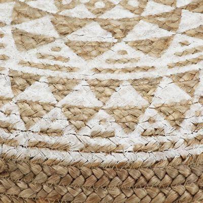 vidaXL Handgjord sittpuff vit 45x30 cm jute