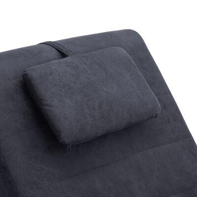 vidaXL Massageschäslong med kudde grå konstmocka