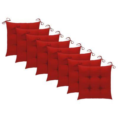 vidaXL Matstolar med röda dynor 8 st massiv teak