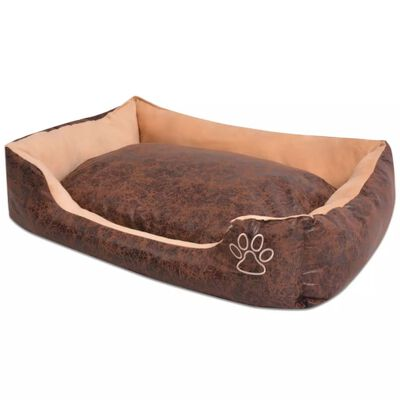 vidaXL Hundbädd med kudde PU konstläder storlek S brun