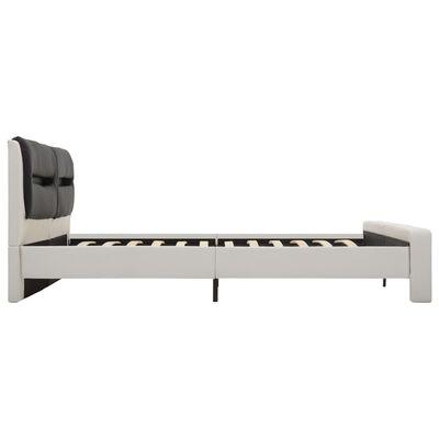 vidaXL Sängram med LED vit och svart konstläder 180x200 cm