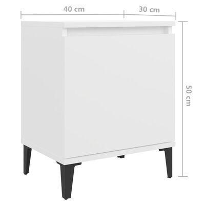 vidaXL Sängbord med metallben vit 40x30x50 cm