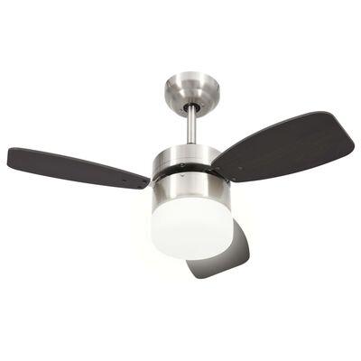 vidaXL Takfläkt med lampa och fjärrkontroll 76 cm mörkbrun