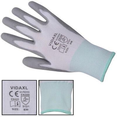 vidaXL Arbetshandskar PU 24 par vit och grå strl. 8/M