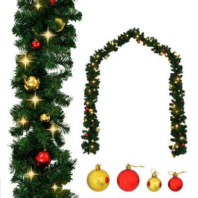 vidaXL Julkrans dekorerad med julkulor och LED-lampor 20 m,