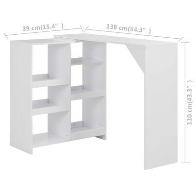 vidaXL Barbord med flyttbar hylla vit 138x39x110 cm