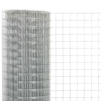 vidaXL Hönsnät galvaniserat stål 25x0,5 m silver