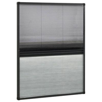 vidaXL Plisserat insektsnät med jalusi för fönster 80x100 cm aluminium