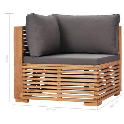 vidaXL Loungegrupp för trädgården med dynor 5 delar massivt teakträ