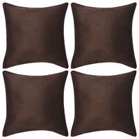 vidaXL Kuddöverdrag 4 st 40x40 cm mockaimitation polyester brun