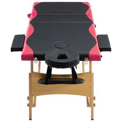 vidaXL Hopfällbar massagebänk 3 sektioner trä svart och rosa, svart och rosa