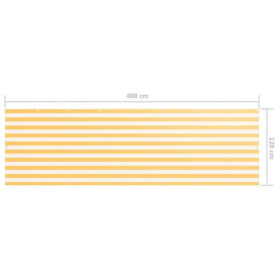 vidaXL Balkongskärm vit och gul 120x400 cm oxfordtyg