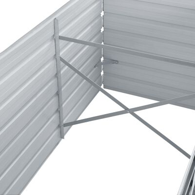 vidaXL Odlingslåda upphöjd galvaniserat stål 320x80x45 cm grå