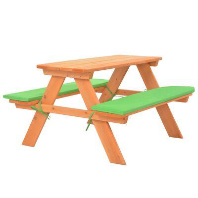 vidaXL Picknickbord för barn med bänkar 89x79x50 cm massivt granträ