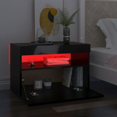 vidaXL TV-bänk med LED-belysning svart högglans 60x35x40 cm
