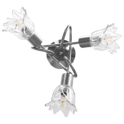 vidaXL Taklampa med transparenta glasskärmar för 3 E14-lampor tulpan