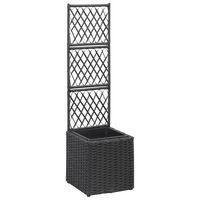 vidaXL Spaljé med 1 kruka upphöjd 30x30x107 cm konstrotting svart